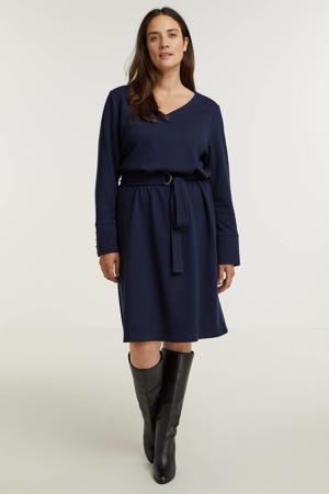 jurk Ruth met ceintuur donkerblauw