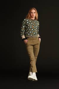 POM Amsterdam sweater Heartbeat khaki green met hartjes groen, Groen