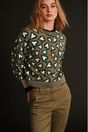 sweater Heartbeat khaki green met hartjes groen
