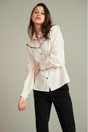 blouse Ivory ecru met ruches ecru
