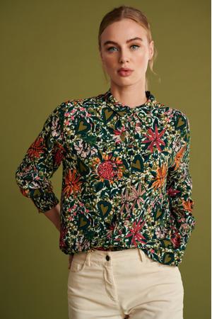 gebloemde blouse Flower love ivory groen