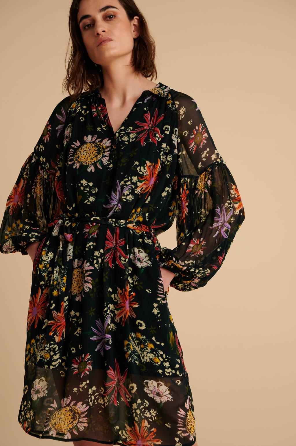 POM Amsterdam gebloemde jurk Flower love black zwart, Zwart