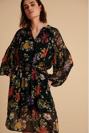 gebloemde jurk Flower love black zwart