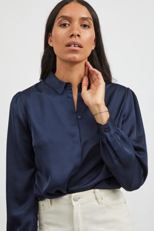 blouse VIELLETTE  van gerecycled polyester blauw