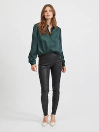 VILA blouse VIELLETTE  van gerecycled polyester groen, Groen