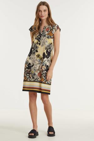 jurk met all over print zwart/geel/bruin