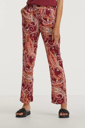 straight fit legging met paisleyprint roze