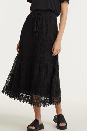 midi rok met kant zwart