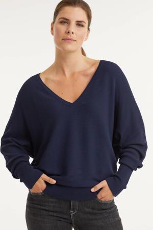 trui met v-hals donkerblauw