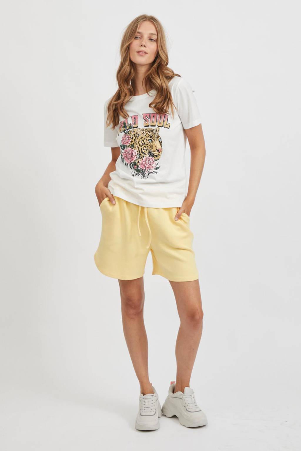 VILA T-shirt VIVULKAN T-SHIRT/KA met printopdruk wit, Wit