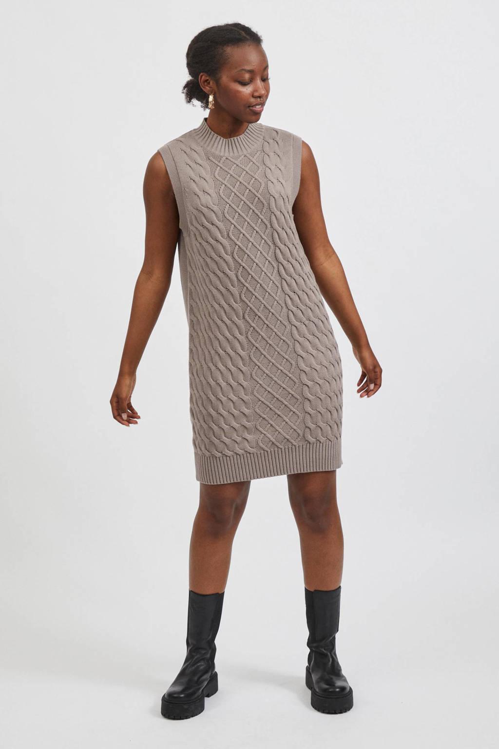 VILA gebreide jurk VIZURI met biologisch katoen taupe, Taupe