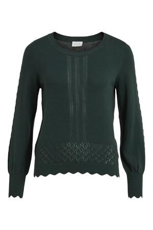 fijngebreide trui VIKALEY  van biologisch katoen groen
