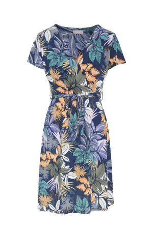 jurk met bladprint en plooien donkerblauw/groen/oranje/paars
