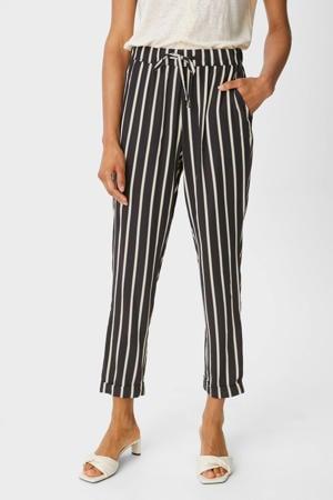 gestreepte cropped high waist tapered fit pantalon blauw