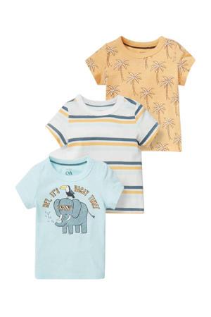 T-shirt - set van 3 lichtblauw/wit/geel