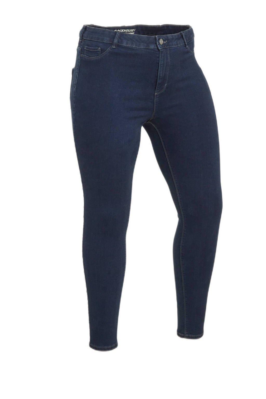 C&A XL Clockhouse high waist skinny jeans donkerblauw, Donkerblauw