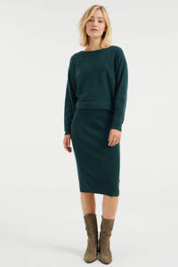 WE Fashion ribgebreide jurk met vleermuismouwen groen, Groen