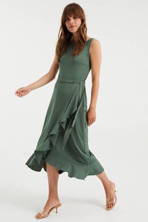 jurk met volant donkergroen