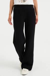 WE Fashion wide leg sweatbroek met textuur zwart, Zwart