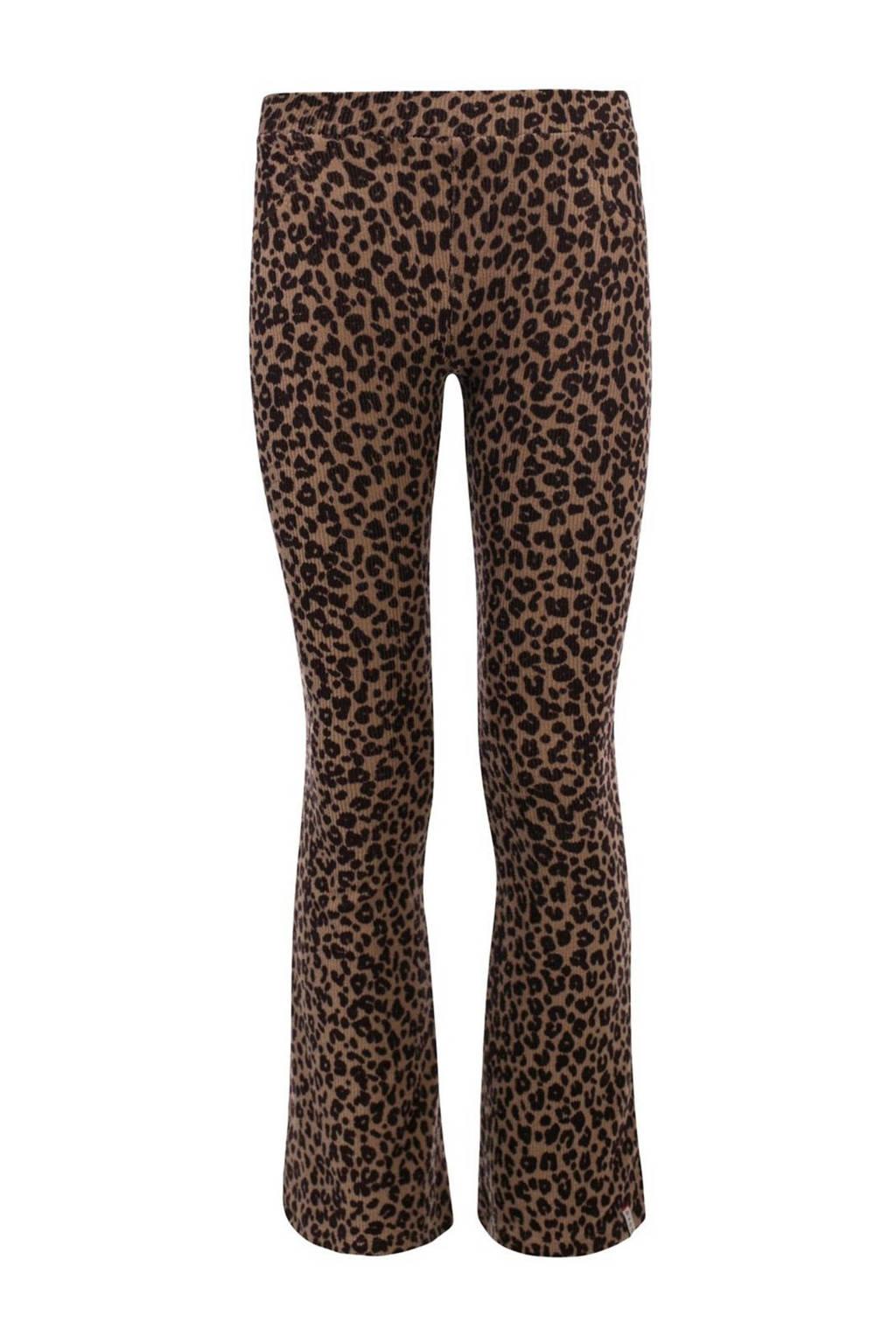 LOOXS little flared broek met panterprint bruin/zwart, Bruin/zwart