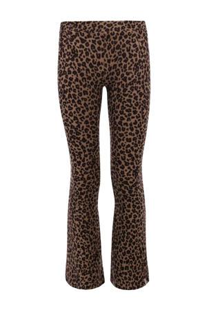 flared broek met panterprint bruin/zwart