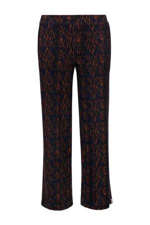 loose fit broek met all over print donkerblauw/oranje