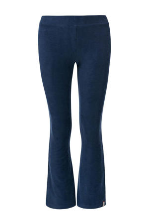fluwelen flared broek donkerblauw