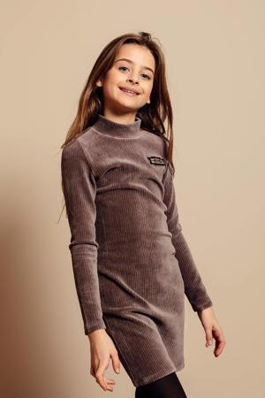 ribgebreide fluwelen jurk grijs