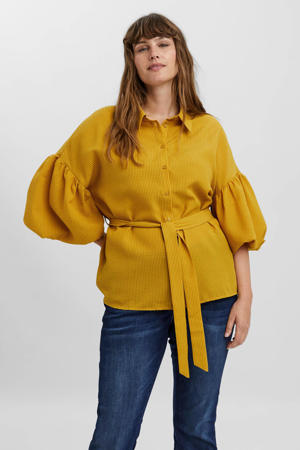 blouse VMMILLA met ceintuur geel