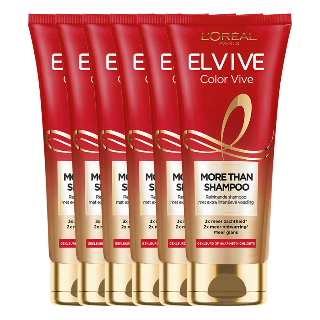 L'Oréal Paris  Elvive More Than Shampoo Color Vive voor gekleurd haar - 6 x 200 ml multiverpakking