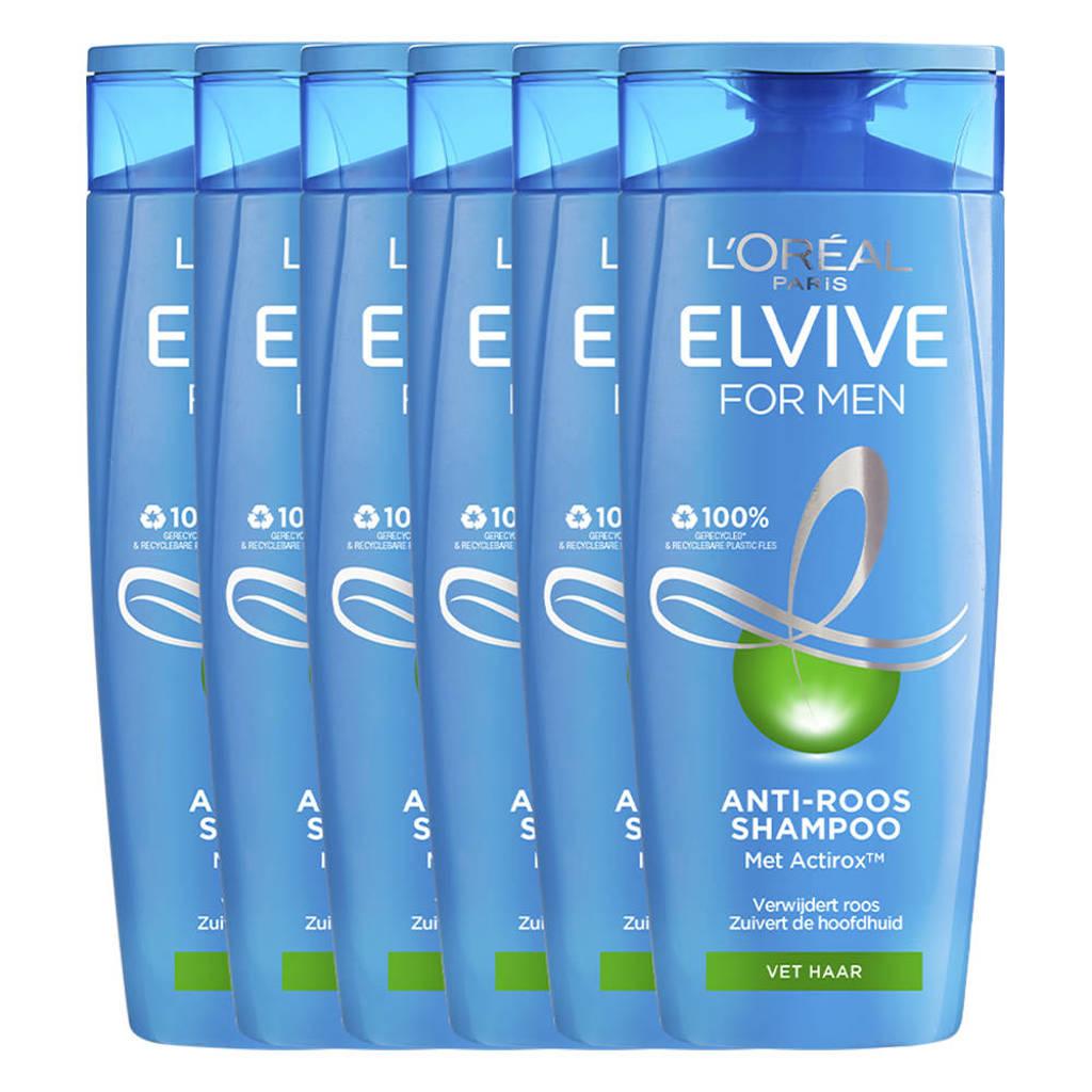 L'Oréal Paris  Elvive Anti-roos for men shampoo - 6 x 250 ml multiverpakking