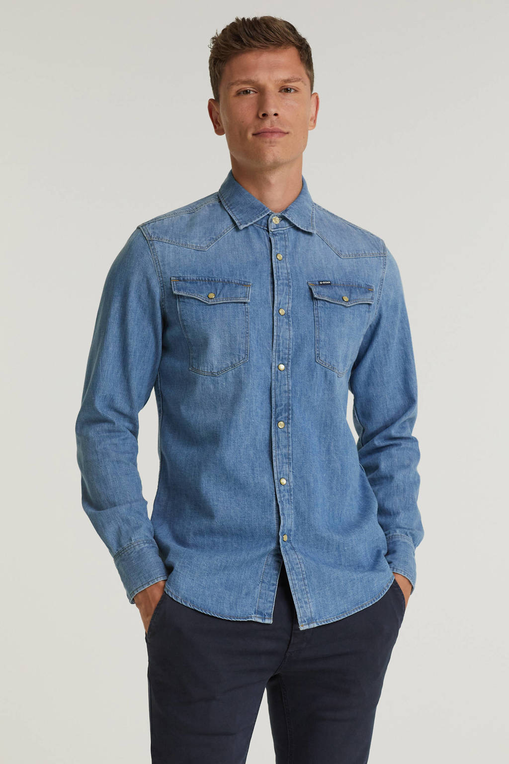 G-Star RAW slim fit denim overhemd 3301 medium aged, Medium aged