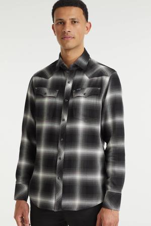 geruit slim fit overhemd c641-dk black dale check