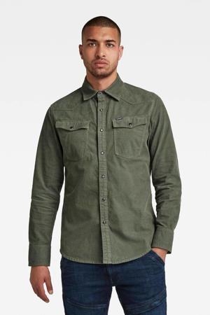 corduroy slim fit overhemd 3301 groen