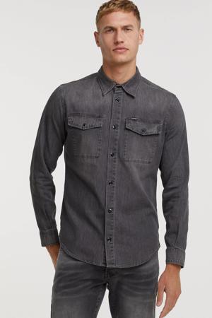 slim fit denim overhemd faded seal grey