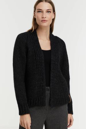 gebreid vest Jelena met wol zwart