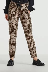 Moscow slim fit pantalon Viana met all over print bruin, Bruin