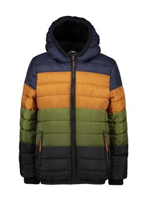 winterjas donkerblauw/oker/groen/zwart