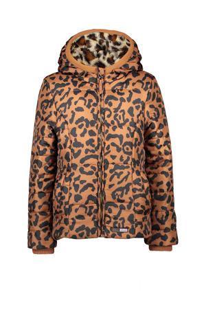 winterjas met tijgerprint brique/zwart