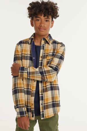 geruit overhemd oker/beige/donkerblauw