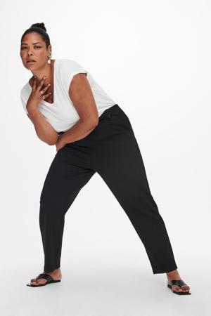 cropped straight fit pantalon CARBETTY ANKEL SMOCK PANT zwart