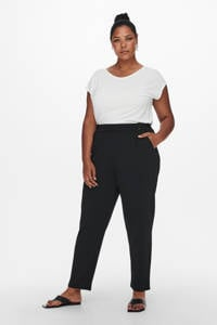ONLY CARMAKOMA cropped straight fit pantalon CARBETTY ANKEL SMOCK PANT zwart, Zwart