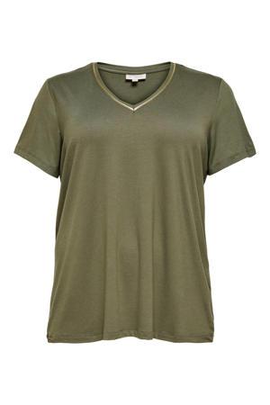 T-shirt CARCARMA met contrastbies donkergroen