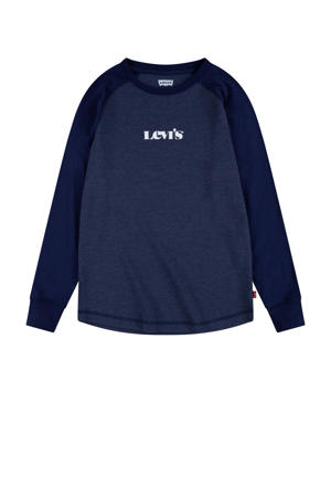 Levi's Kids longsleeve Waffle Tee met logo donkerblauw