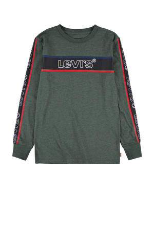 Levi's Kids longsleeve Graphic met contrastbies army groen