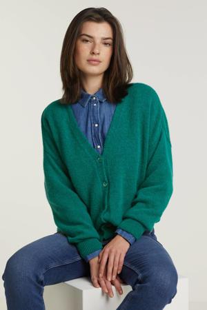 gebreid vest turquoise