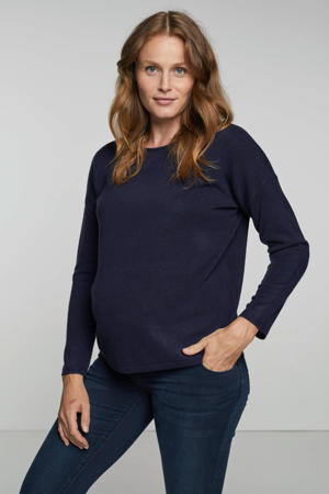 zwangerschapstrui OLMAMALIA met kant donkerblauw