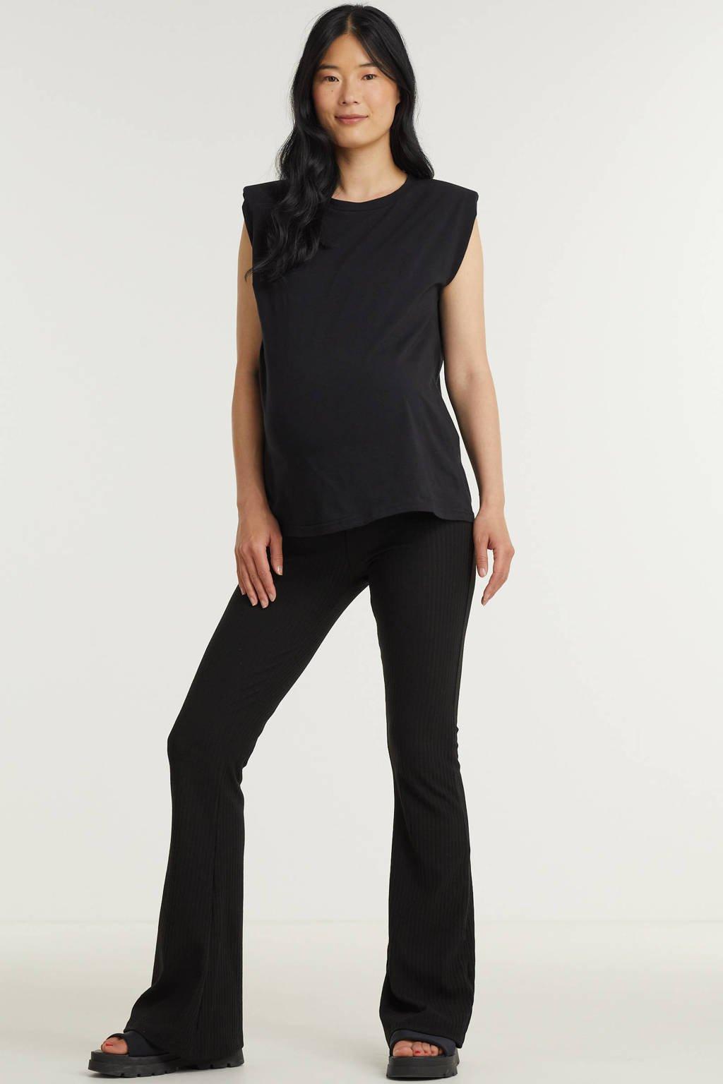 ONLY MATERNITY low waist flared broek OLMNELLA zwart, Zwart