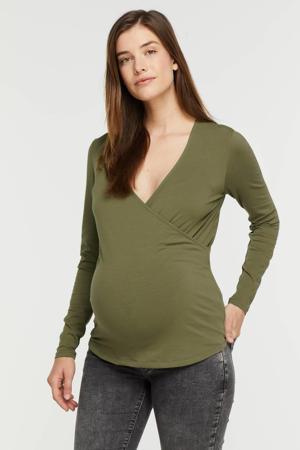 overslag zwangerschaps- en voedingstop OLMJOY olijfgroen