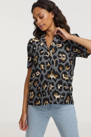 blouse Raya 1 met all over print grijs/zwart/bruin